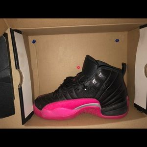 BLACK/DEADLY PINK Jordan 12s